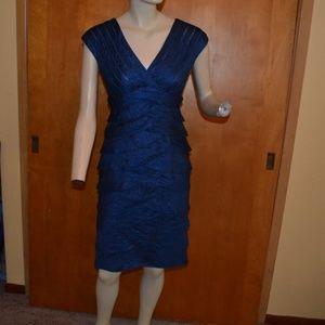 Adrianna Papell Blue Ruffle Dress Size 4